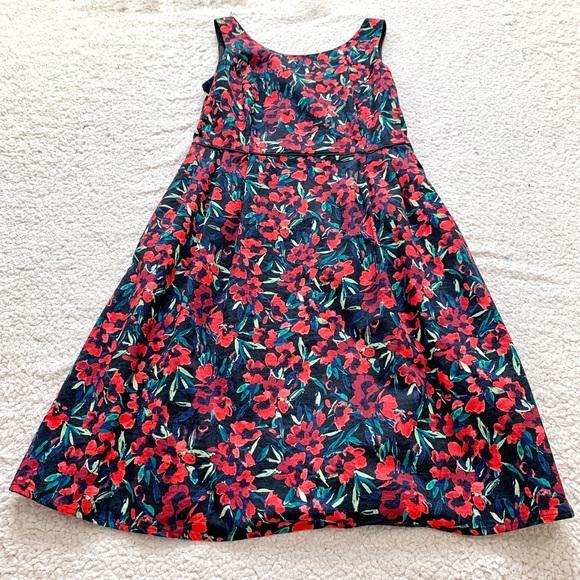 Lands' End Dresses & Skirts - Lands end red floral sleeveless holiday dress 12